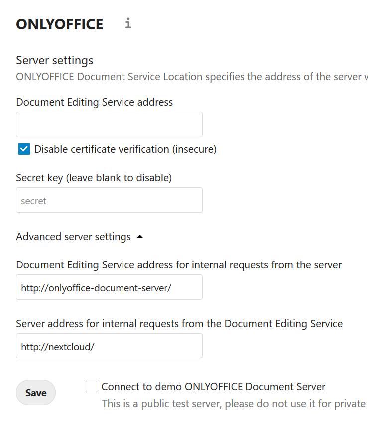 Nextcloud onlyoffice integration Settings